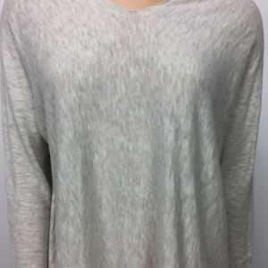 Vince  Light Gray Cotton Knit Pullover Sweater